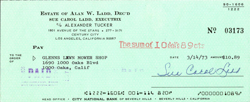 Image 1 for Sue Carol Ladd - Autographed Signed Check 03/14/1973 - HFSID 274106