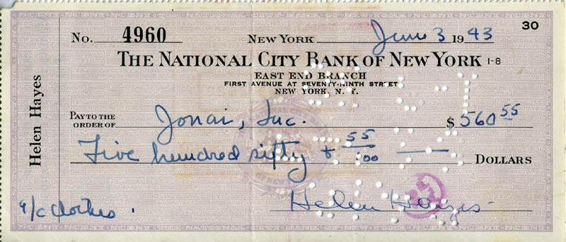 Image 1 for Helen Hayes - Autographed Signed Check 06/03/1943 - HFSID 274110
