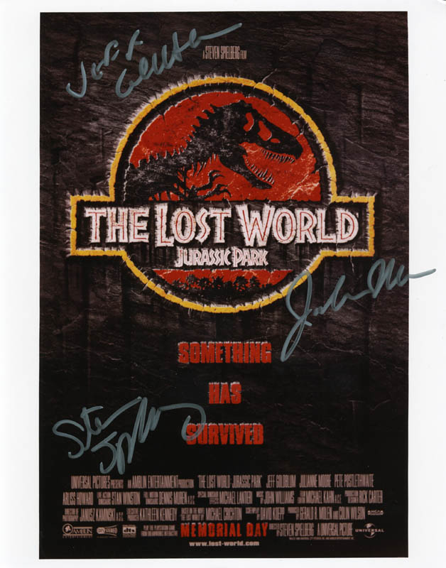 Image 1 for The Lost World: Jurassic Park - Autographed Signed Photograph co-signed by: Jeff Goldblum, Steven Spielberg, Julianne Moore - HFSID 274169
