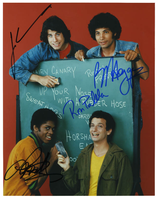 Image 1 for Welcome Back, Kotter TV Cast - Autographed Signed Photograph co-signed by: Robert Hegyes, John Travolta, Lawrence Hilton-jacobs, Ron Palillo - HFSID 274183