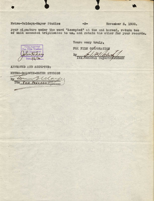 Image 1 for Louis B. Mayer - Document Signed 11/05/1930 - HFSID 274325