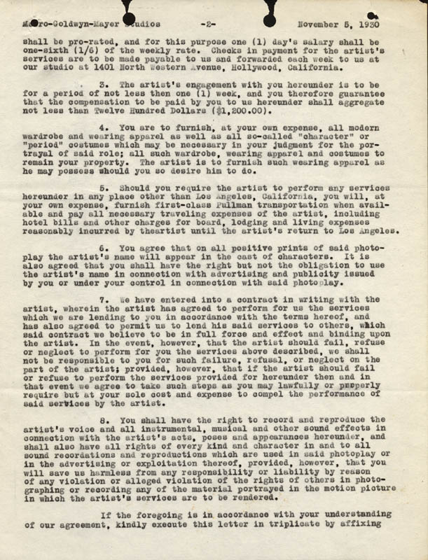 Image 4 for Louis B. Mayer - Document Signed 11/05/1930 - HFSID 274325