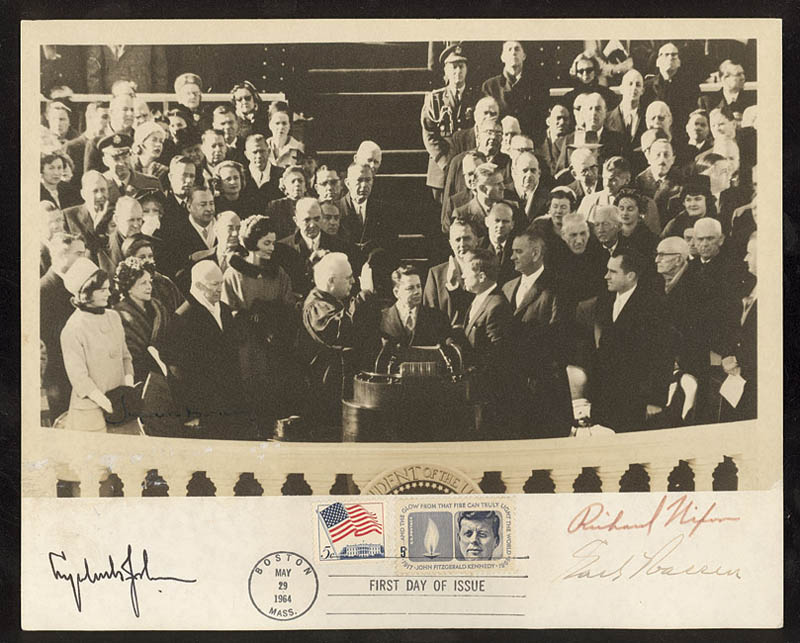 Image 1 for President Lyndon B. Johnson - Autographed Signed Photograph co-signed by: Chief Justice Earl Warren, President Richard M. Nixon - HFSID 274367