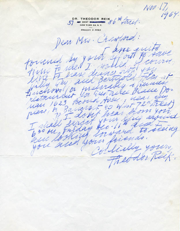 Image 1 for Theodor Reik - Autograph Letter Signed 11/17/1964 - HFSID 274481