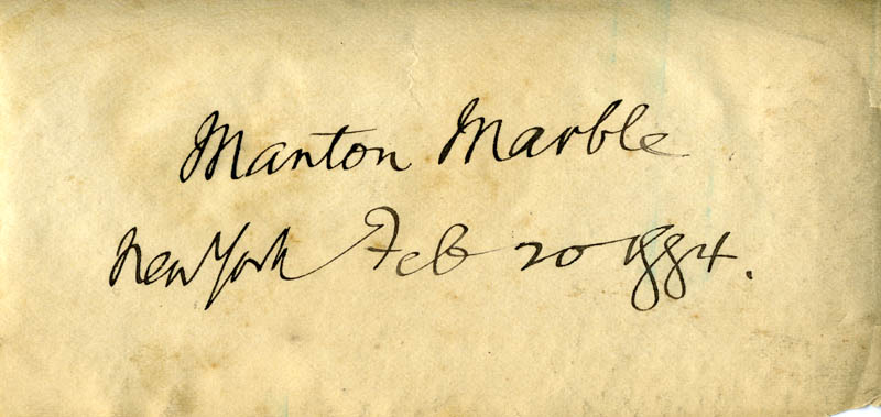 Image 1 for Manton Marble - Autograph 02/20/1884 - HFSID 274543