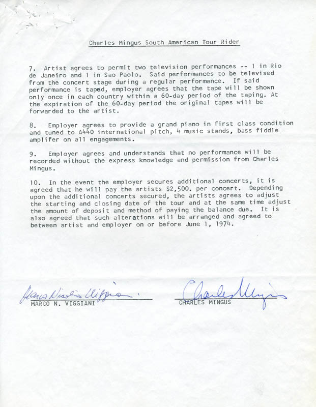 Image 1 for Charlie Mingus - Document Signed Circa 1974 co-signed by: Marco N. Viggiani - HFSID 274618