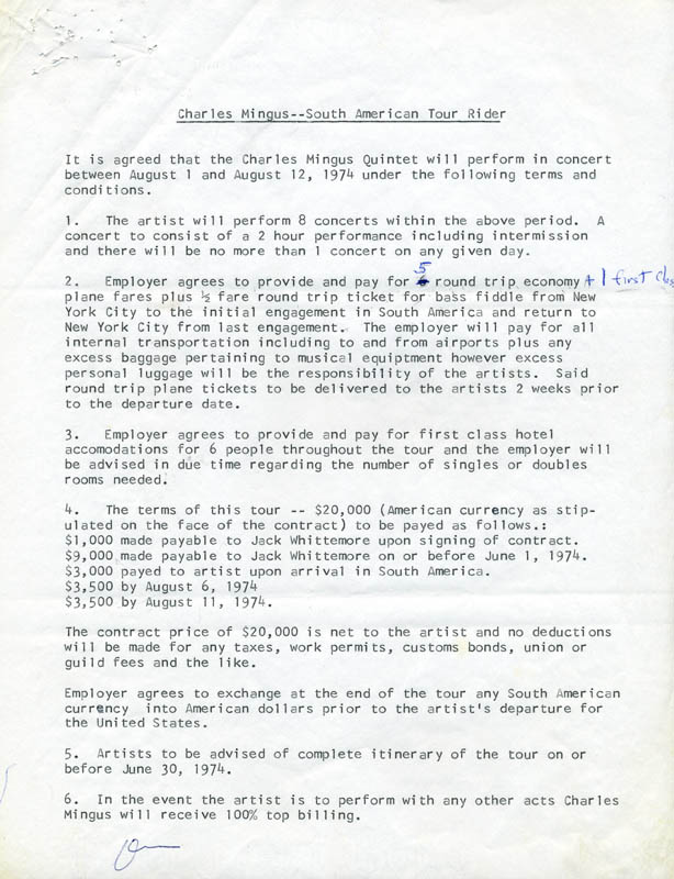Image 3 for Charlie Mingus - Document Signed Circa 1974 co-signed by: Marco N. Viggiani - HFSID 274618