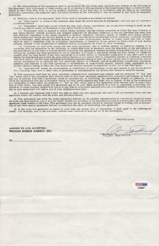 Image 1 for Clint Eastwood - Contract Signed 01/11/1973 - HFSID 274926