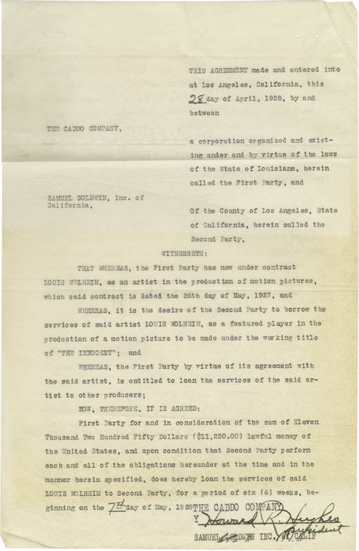 Image 1 for Howard Hughes - Contract Signed 04/28/1928 co-signed by: Joseph W. Engel - HFSID 274929