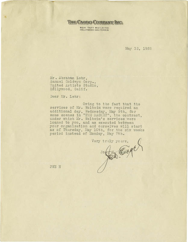 Image 3 for Howard Hughes - Contract Signed 04/28/1928 co-signed by: Joseph W. Engel - HFSID 274929