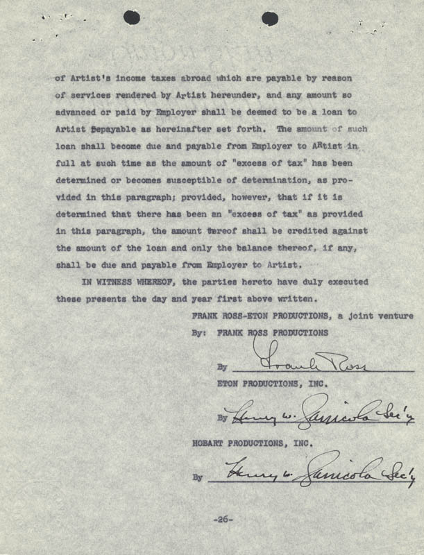 Frank Sinatra - Contract Signed 08/20/1957 | Autographs ...