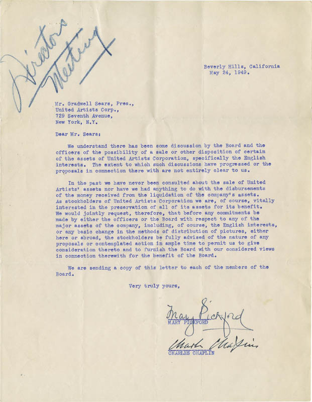 Image 1 for Charlie 'The Little Tramp' Chaplin - Typed Letter Signed 05/24/1949 co-signed by: Mary Pickford - HFSID 274970