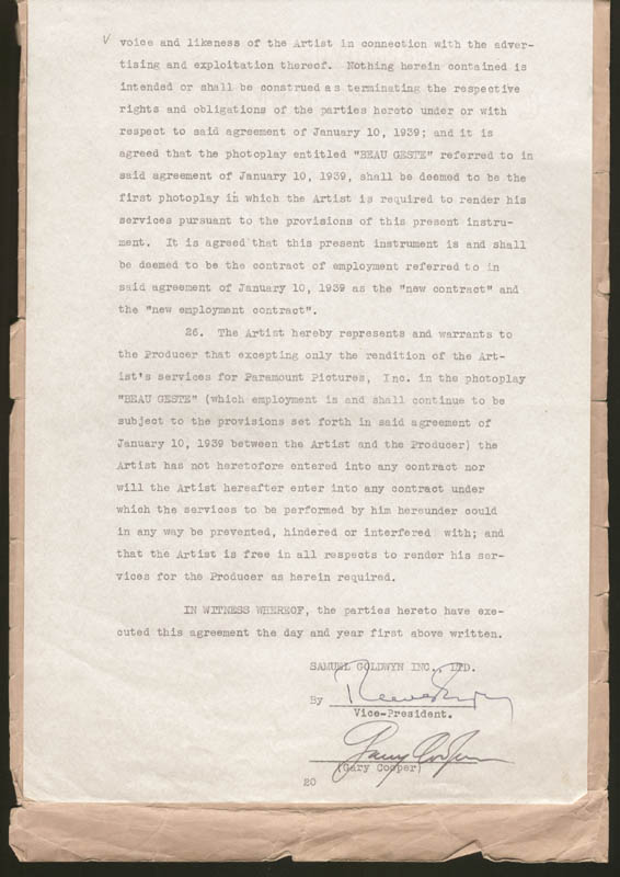 Image 1 for Gary Cooper - Contract Signed 05/02/1939 - HFSID 274972