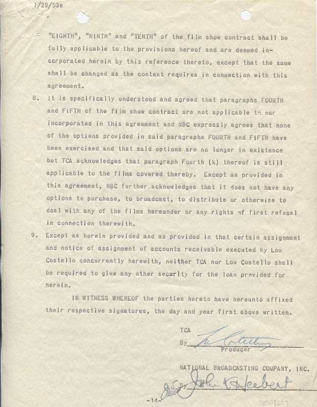 Image 1 for Abbott & Costello (Lou Costello) - Contract Signed 12/15/1952 - HFSID 274973