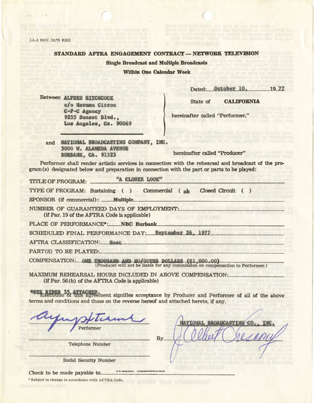 Image 1 for Alfred Hitchcock - Contract Signed 10/10/1977 - HFSID 274994