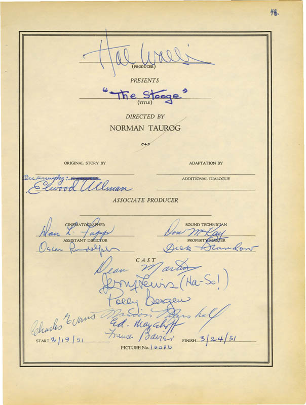 Image 1 for The Stooge Movie Cast - Document Signed with co-signers - HFSID 275003