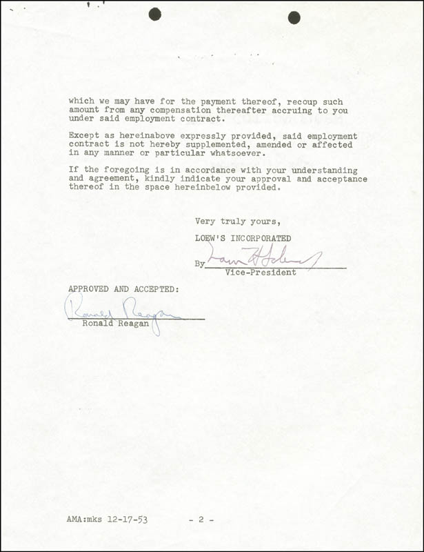 Image 1 for President Ronald Reagan - Contract Signed 12/16/1953 - HFSID 275013