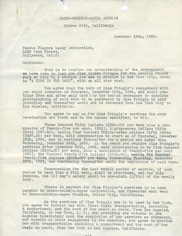 Image 3 for Irving Thalberg - Typed Letter Signed 12/15/1924 co-signed by: Aileen Pringle - HFSID 275020