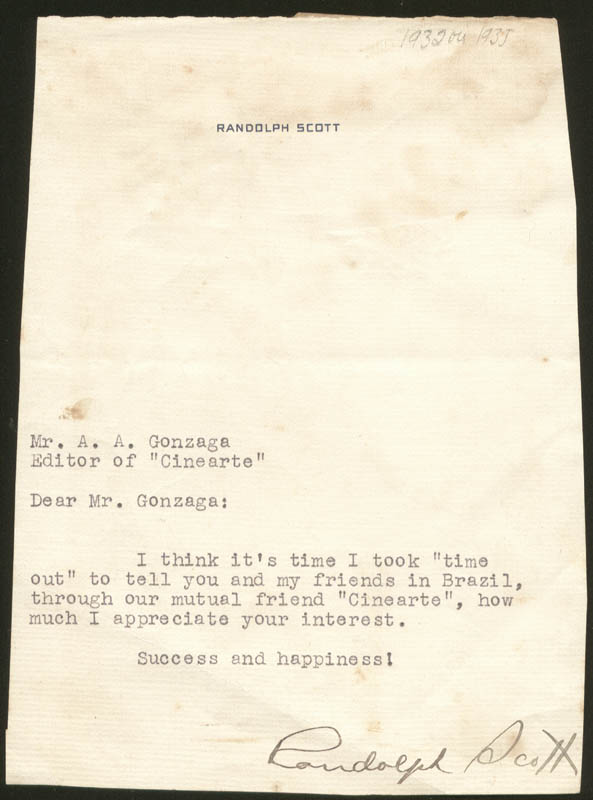Image 1 for Randolph Scott - Typed Letter Signed - HFSID 275030