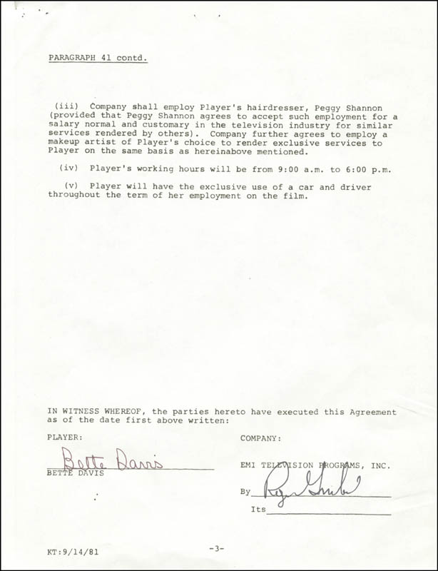 Image 3 for Bette Davis - Contract Signed 11/21/1981 - HFSID 275038