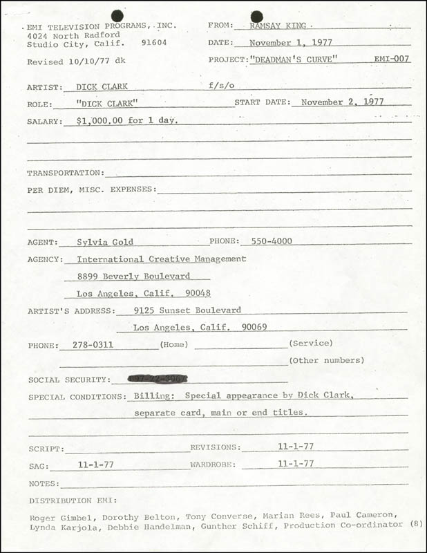 Image 4 for Dick Clark - Contract Unsigned Circa 1977 - HFSID 275043