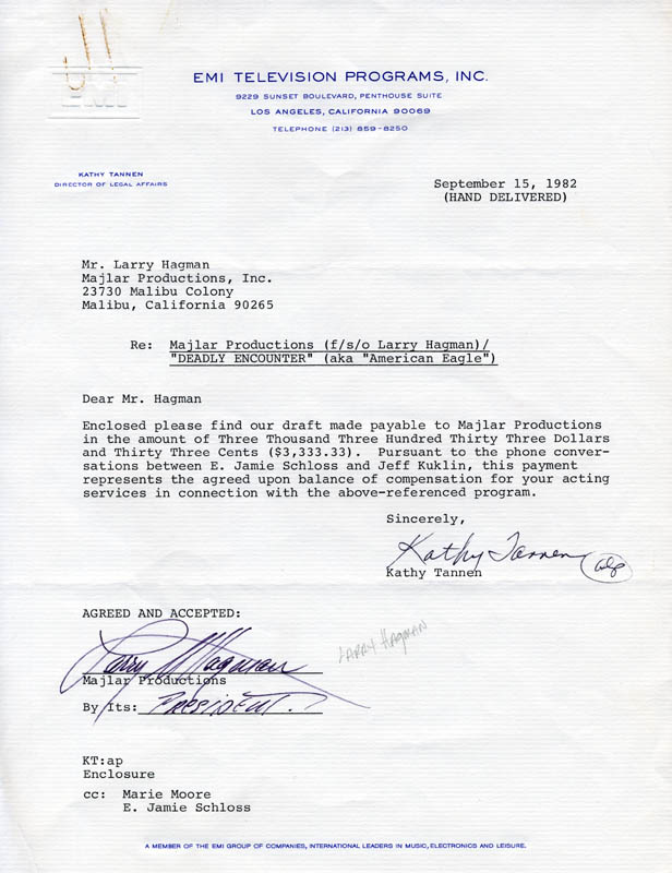 Image 1 for Larry Hagman - Contract Signed 09/15/1982 - HFSID 275050
