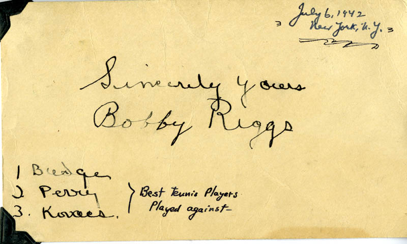 Image 1 for Bobby Riggs - Post Card Signed Circa 1942 - HFSID 275201