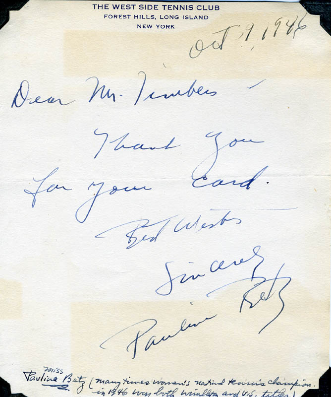 Image 1 for Pauline Betz Addie - Autograph Letter Signed 10/09/1946 - HFSID 275205