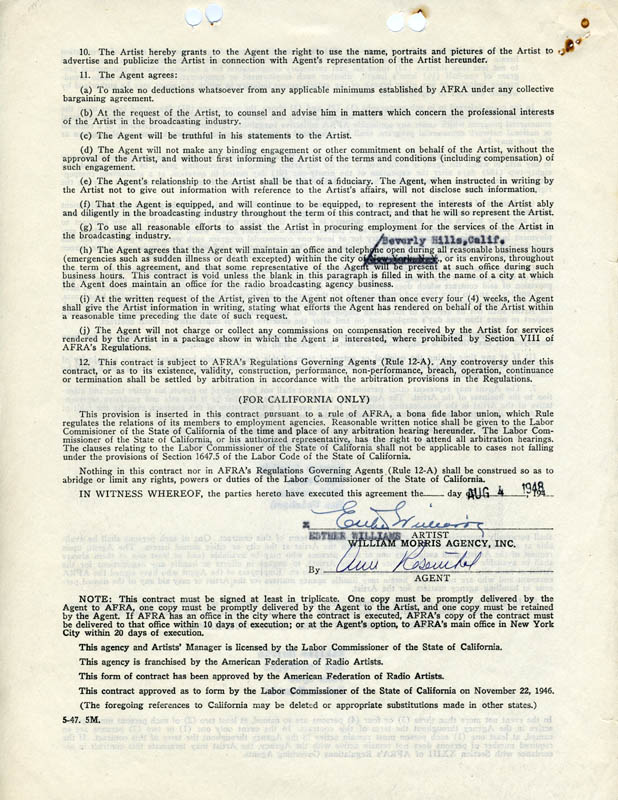 Image 1 for Esther Williams - Contract Signed 08/04/1948 - HFSID 275218