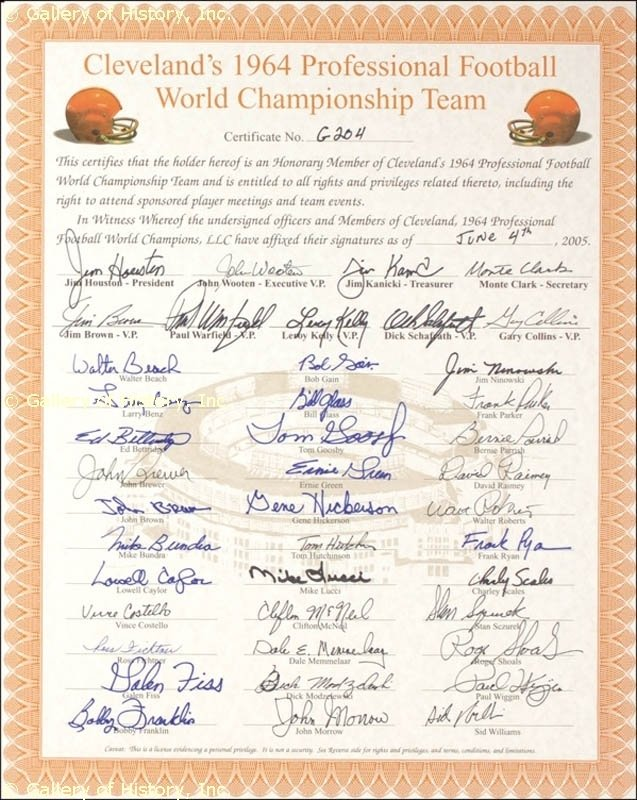 Image 1 for Cleveland Browns - Document Signed 06/04/2005 with co-signers - HFSID 275257