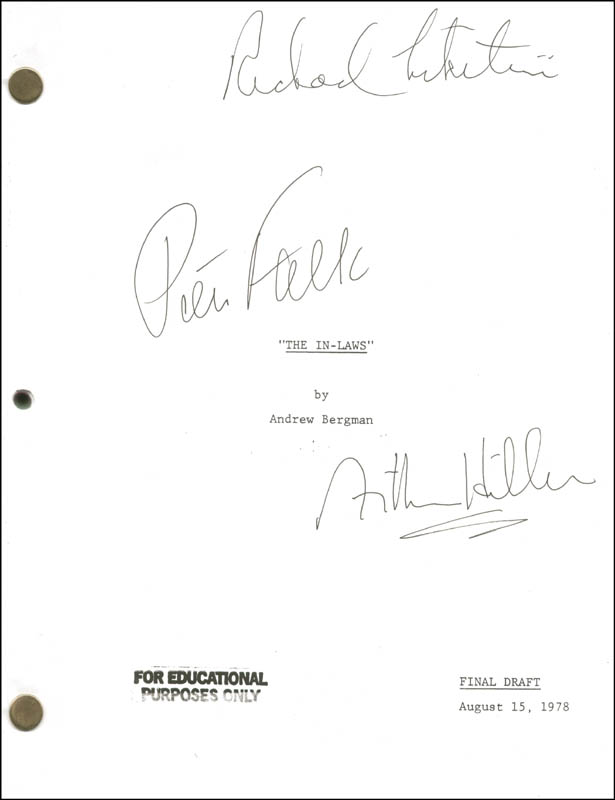 Image 1 for In-laws Movie Cast (1979) - Script Signed co-signed by: Peter Falk, Arthur Hiller, Richard Libertini - HFSID 275264