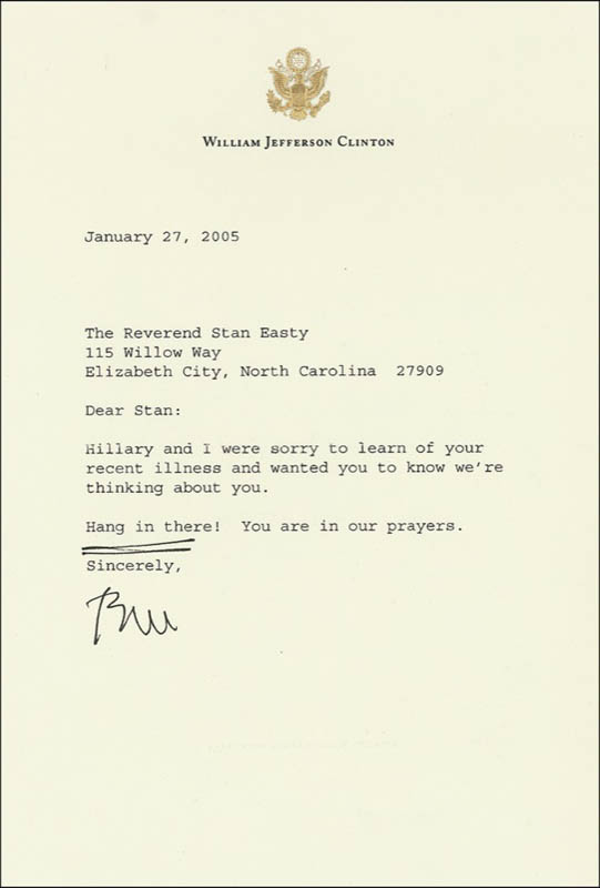 Image 1 for President William J. 'Bill' Clinton - Typed Letter Signed 01/27/2005 - HFSID 275349