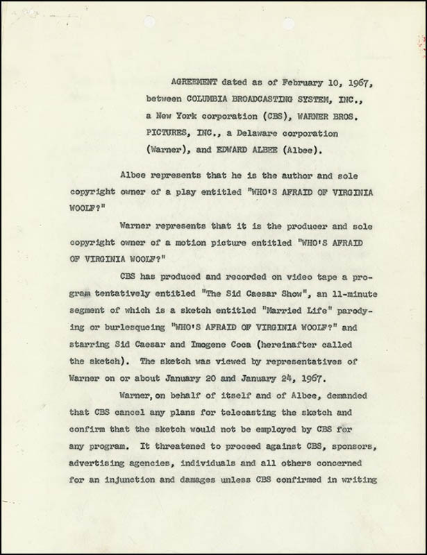 Image 1 for Edward Albee - Document Signed 02/10/1967 - HFSID 275358