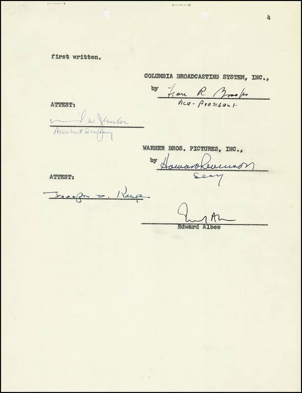Image 5 for Edward Albee - Document Signed 02/10/1967 - HFSID 275358