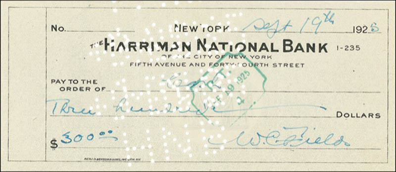 Image 1 for W. C. Fields - Autographed Signed Check 09/19/1925 - HFSID 275367