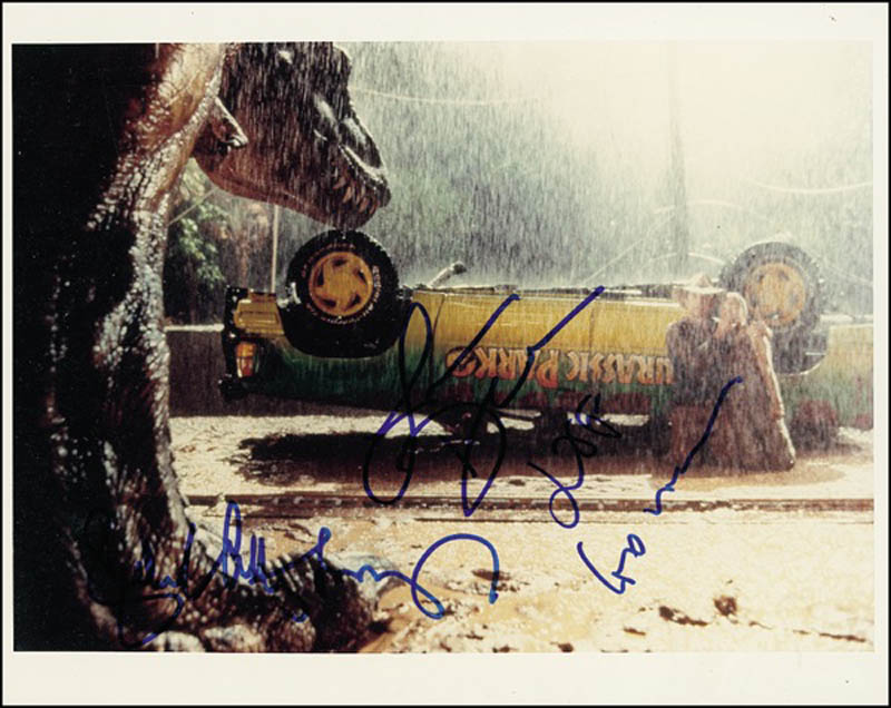 Image 1 for Jurassic Park Movie Cast - Autographed Signed Photograph co-signed by: Jeff Goldblum, Sir Richard Attenborough, Laura Dern - HFSID 275371