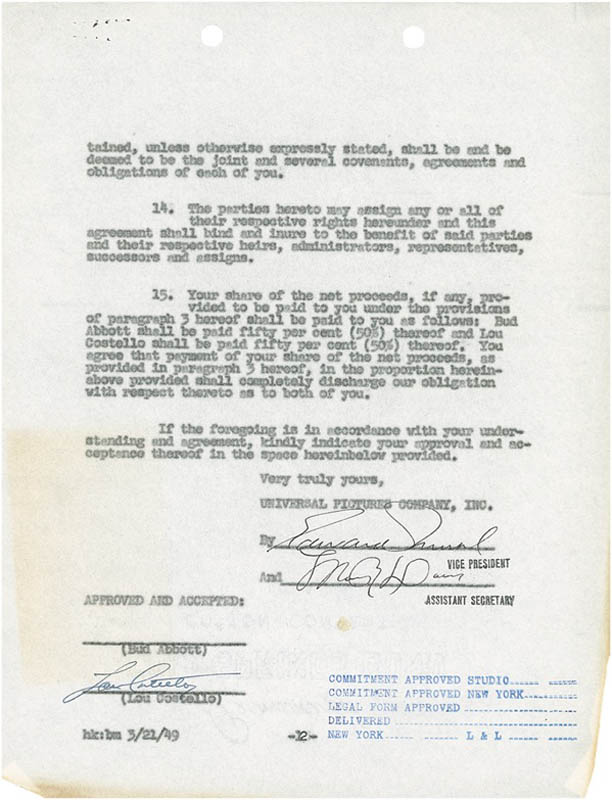 Image 1 for Abbott & Costello (Lou Costello) - Document Signed 03/21/1949 - HFSID 276039