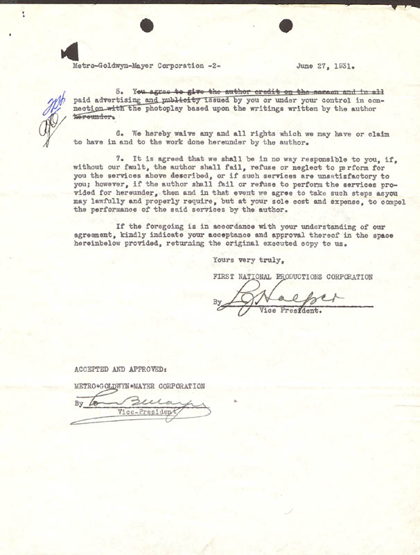 Image 2 for Louis B. Mayer - Document Signed 06/27/1931 - HFSID 276080