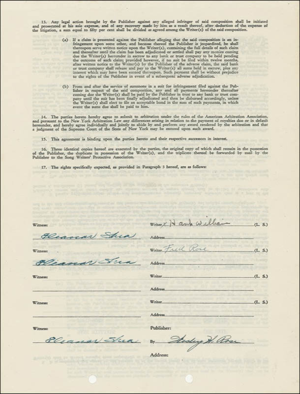Image 1 for Hank Williams Sr. - Document Signed 11/03/1947 co-signed by: Fred Rose, Wesley H. Rose - HFSID 276292