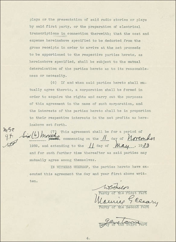 Image 3 for W. C. Fields - Document Signed 11/11/1932 co-signed by: Gene Towne , Maurice Cleary - HFSID 276293