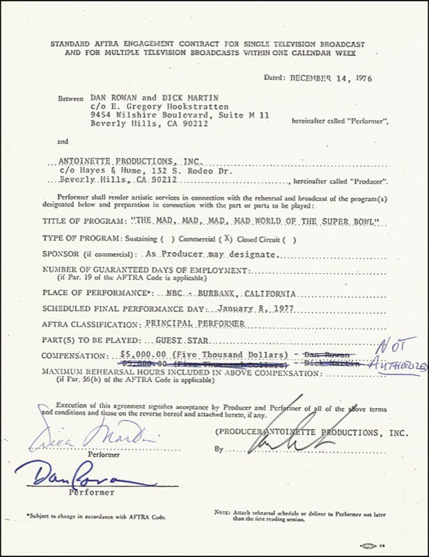 Image 1 for Rowan & Martin - Document Signed 12/14/1976 co-signed by: Rowan & Martin (Dick Martin), Rowan & Martin (Dan Rowan) - HFSID 276367