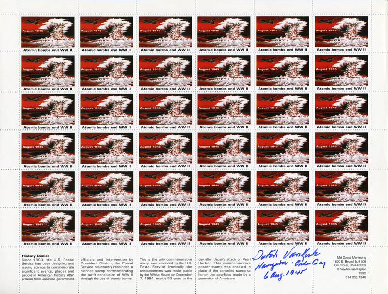 Image 1 for Enola Gay Crew (Theodore Van Kirk) - Stamp(s) Signed - HFSID 276463