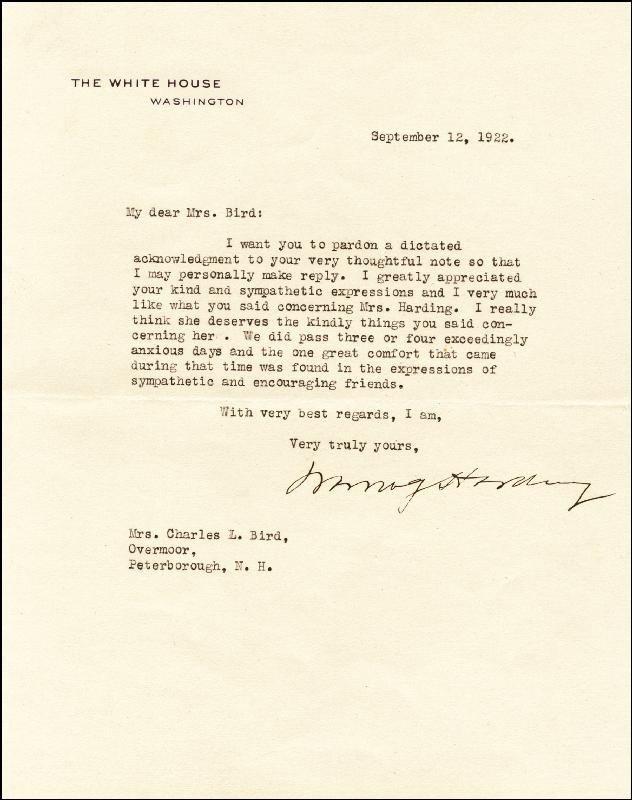 Image 1 for President Warren G. Harding - Typed Letter Signed 09/12/1922 - HFSID 27653