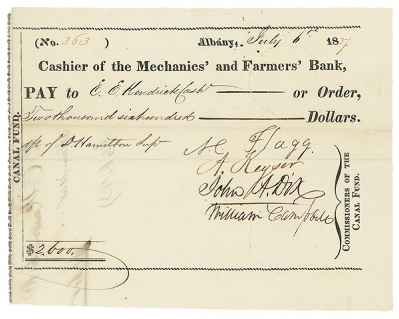 Image 1 for Major General John A. Dix - Autographed Signed Check 07/06/1837 with co-signers - HFSID 276604