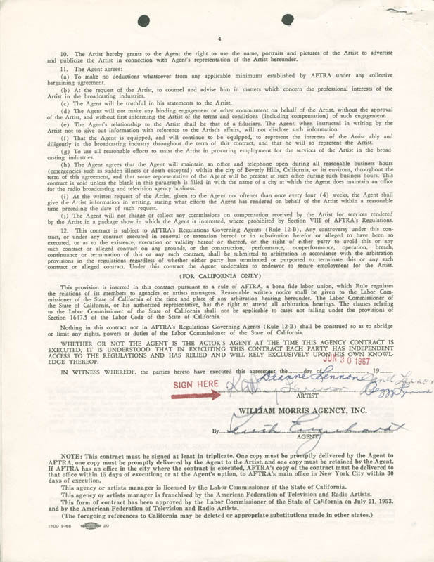 Image 1 for The Lennon Sisters - Document Signed 06/30/1967 with co-signers - HFSID 276664
