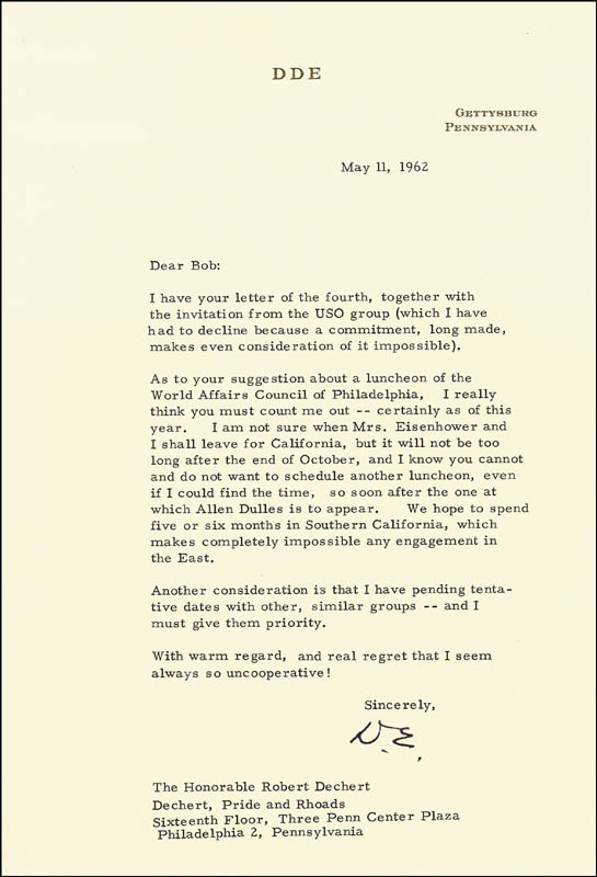 Image 1 for President Dwight D. Eisenhower - Typed Letter Signed 05/11/1962 - HFSID 27672