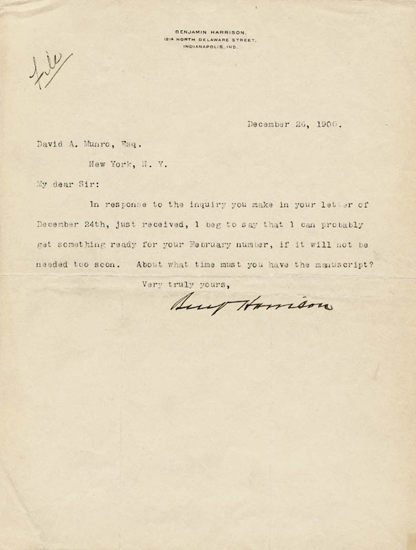 Image 1 for President Benjamin Harrison - Typed Letter Signed 12/26/1900 - HFSID 27673