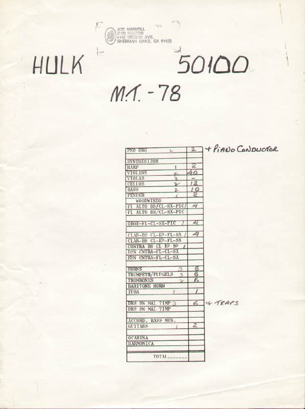 Image 1 for The Incredible Hulk TV Cast - Autograph Musical Manuscript Signed co-signed by: Joe Harnell - HFSID 276755