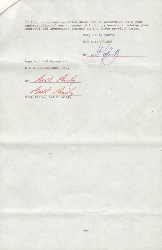 Image 1 for Bill Bixby - Contract Double Signed 08/25/1977 - HFSID 276767