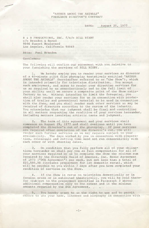 Image 3 for Bill Bixby - Contract Double Signed 08/25/1977 - HFSID 276767